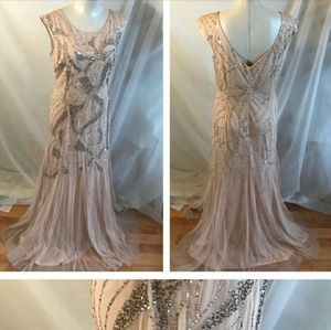 Adrianna Papell blush tulle gown size 12